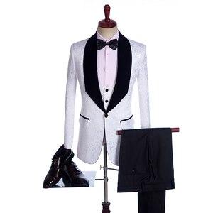 Image 3 - Fnoexw ที่กำหนดเอง 2019 เจ้าบ่าวสีแดง Tuxedos งานแต่งงานชุดสูทธุรกิจเจ้าบ่าวชุดบุรุษชุดแต่งงาน (แจ็คเก็ต + กางเกง + เสื้อกั๊ก + Tie)