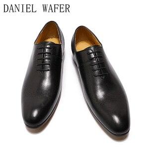 Image 5 - Design de mode hommes Oxford en cuir véritable chaussures noir marron à lacets pointu bureau de mariage de luxe hommes chaussures habillées pour chaussures