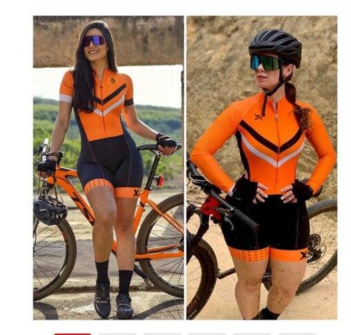 Xama ciclismo ciclismo skinsuit das mulheres manga longa bicicleta wear macacão conjunto roadbike mtb roupas ir pro tri sui 1