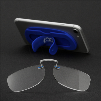 Women Men Mini Nose Clip On Reading Glasses Thin Flexible Readers Portable Wallet Optics with Phone Stands Glasses Case