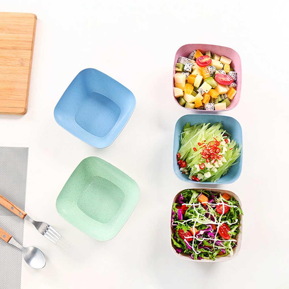 Dapur Square Jerami Gandum Mangkuk Sup Mangkuk Salad Ramah Lingkungan Snack Kering Buah Mangkuk Piring Dudukan Mangkuk Aksesoris Dapur