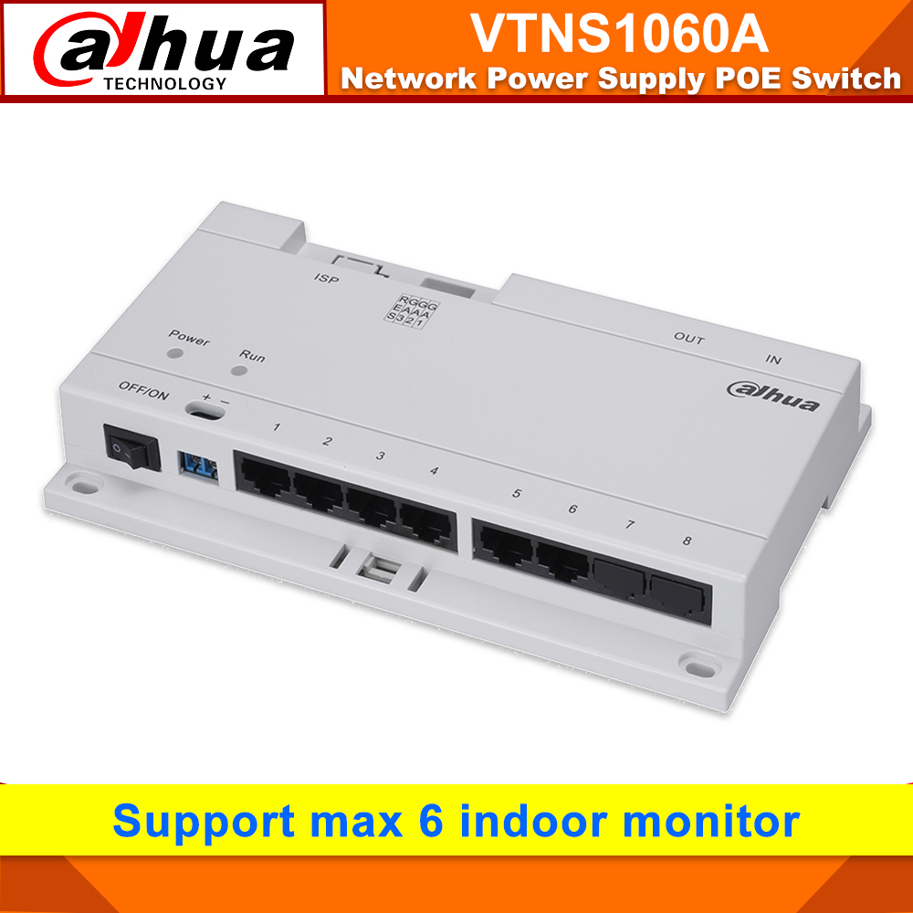 Original Dahua VTNS1060A Video Intercom POE Switch For IP System VTO2000A Intercom Connect Max 6 Indoor Monitors