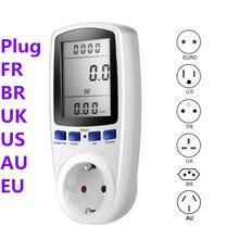 Medidor de vatímetro Digital, medidor de consumo de energía de vatios, KWhV, monitores analizadores de electricidad, enchufe EU AU US FR BR UK