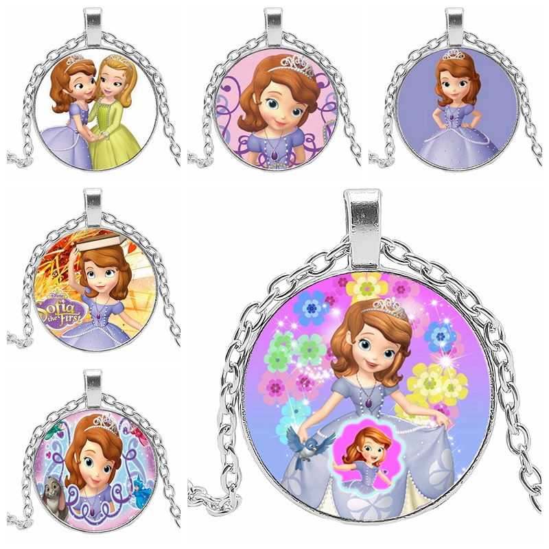 2019 New Princess Necklace Charm Pendant Round Convex Glass Classic Female and Childrens