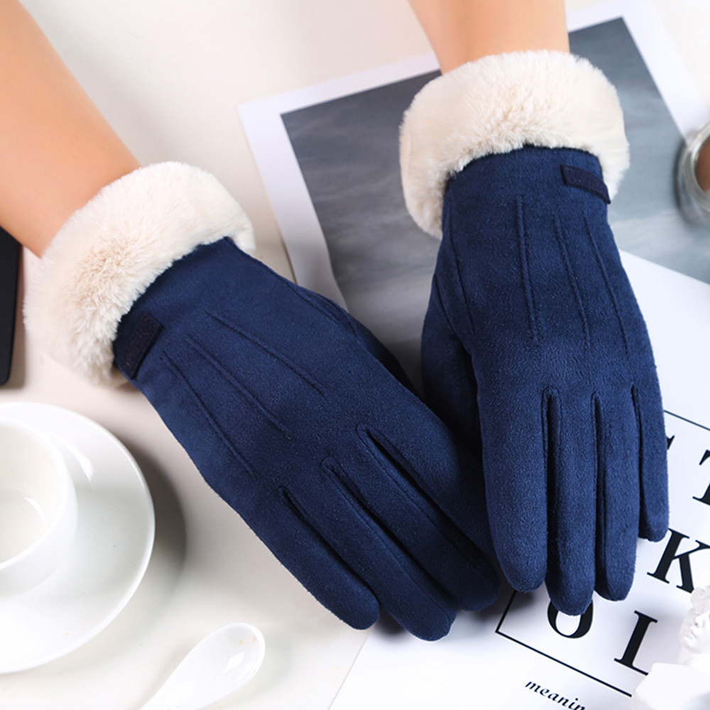 Women Gloves Velvet Keep Warm Touch Screen Gloves Full Finger Windproof Winter Gloves Mittens Outdoor Cycling Glove #