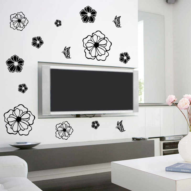 Home & Garden ... Home Decor ... 32763304117 ... 5 ... High Quality Creative Refrigerator Black Sticker Butterfly Pattern Wall Stickers Home Decoration Kitchen Wall Art Mural Decor ...