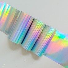 100 ซม.Holographicเงินทองเล็บArt Transferฟอยล์แฟชั่นการออกแบบเล็บHoloสติกเกอร์เลเซอร์เคล็ดลับสำหรับเล็บ