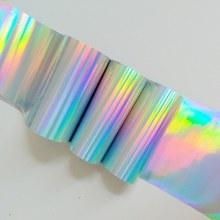 100 centimetri Olografica Argento Puro Oro Unghie artistiche di Trasferimento della Stagnola Del Chiodo di Modo di Disegno Holo Adesivi Laser Tips Decalcomanie Per Manicure