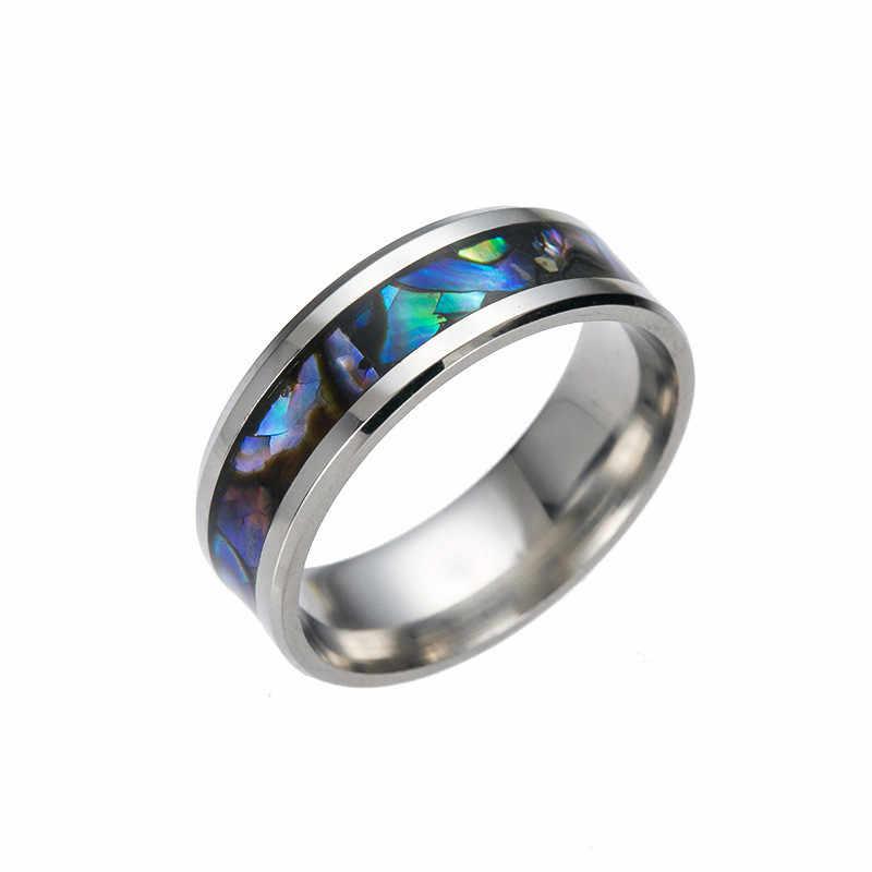 فاسق نمط الفولاذ المقاوم للصدأ محارة اللون الدائري للرجال خاتم الفردية Signet للرجال مجوهرات حفلة هدية للذكرى السنوية # vk