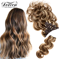 Doreen заколки для волос в полный набор головы 160 г 200 г искусственные волосы одинаковой направленности настоящие натуральные человеческие вол...