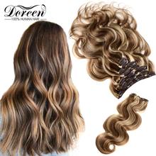Human-Hair-Extensions Hairpiece Doreen Clip-In Natural Full-Head-Sets Real 200g 160g