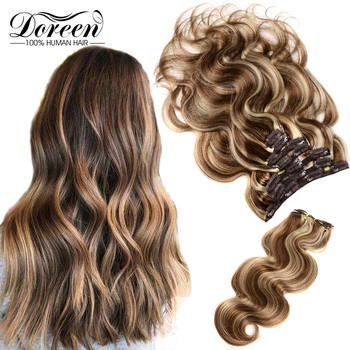 Doreen Hair Balayage Clip in Full Head Sets 160g 200g Machine Made Remy Real Natural Human Extensions ins Hairpiece - discount item  33% OFF Human Hair (For White)
