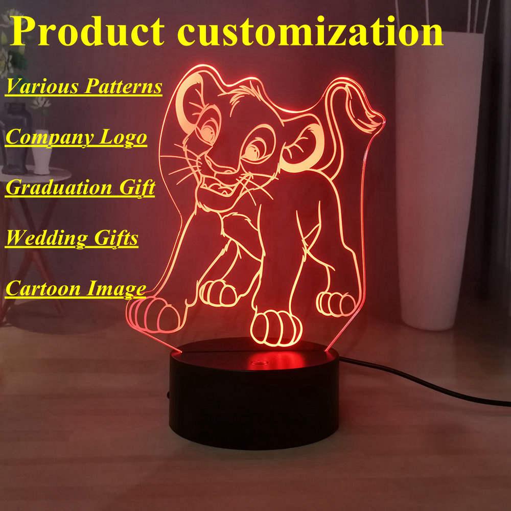 Pattern Custom LED Night Light Company Logo Cartoon Image Movie Figure 3D Table Lamp Bedside Lamp Best Birthday Xmas Gift