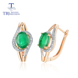 TBJ, Real 14K 585 Gold clasp earring with natural Emerald oval5*7mm Africa Diamond fine jewelry  for women mom nice gift