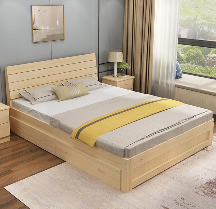 Eco-friendly Solid Wood Bed кровать Bedroom Furniture Kids Adults Bed Easy Assembly