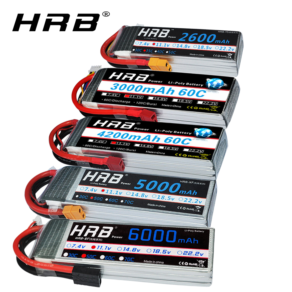 HRB RC <font><b>3S</b></font> <font><b>lipo</b></font> battery 11.1V 5000mah 6000mah 2600mah 3000mah 3300mah 1800mah <font><b>12000mah</b></font> 22000mah <font><b>lipo</b></font> with Deans plug for RC Cars image