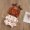Newborn Baby Girls 2-piece Outfit Set , Sleeveless Solid Color Tops+Sunflower Print Shorts Set Summer 2021