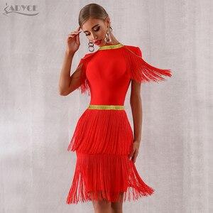 Image 4 - Adyce 2020 뉴 여름 레드 프린지 연예인 저녁 활주로 파티 드레스 여성 섹시한 Tassels 블랙 짧은 소매 클럽 드레스 Vestidos