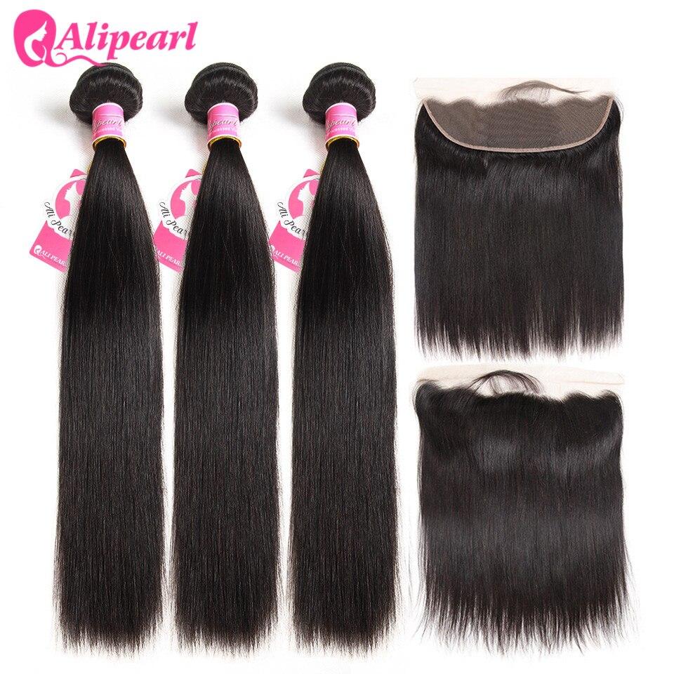 Hd2ce7e9f694b46b8bf8619ad703fd549a Brazilian Straight Human Hair Bundles With Lace Frontal Closure Pre Plucked 13x6 Lace Frontal With 3 Bundles Remy AliPearl Hair
