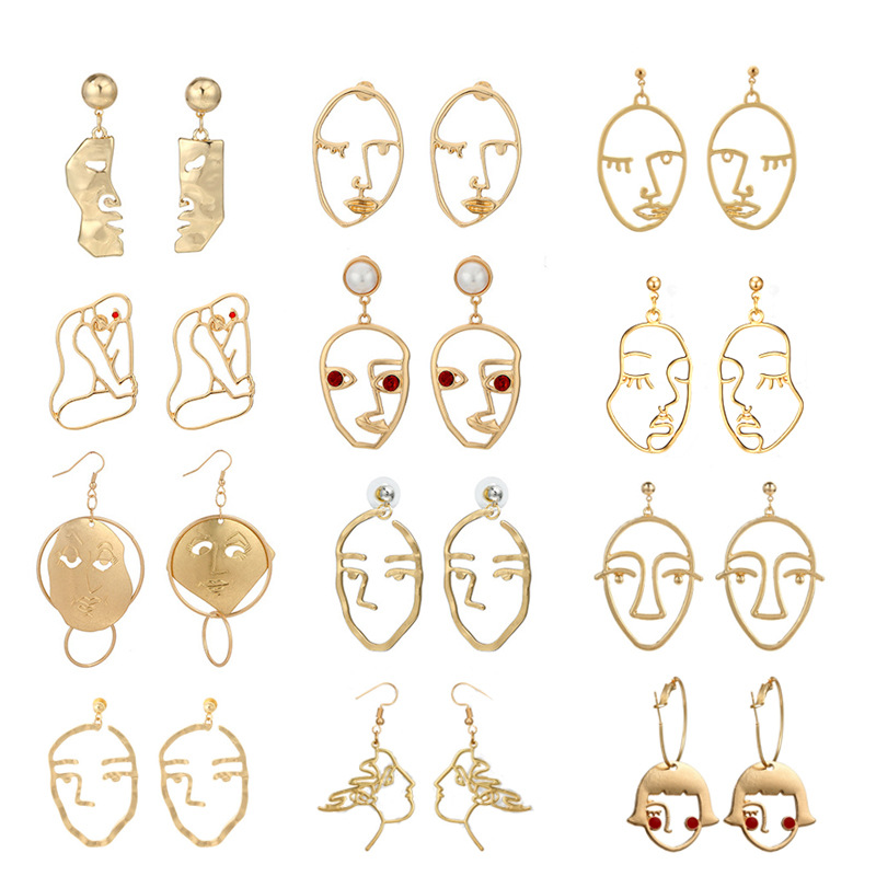 Hot Recommend Alloy Figure Face For Geometric Women Gold Dangle Earrings Star Fashion Boho Jewellery
