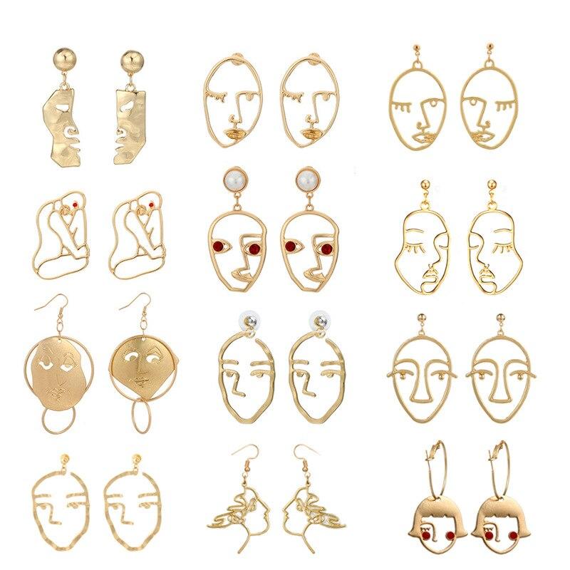 Hot Recommend Alloy Figure Face For Geometric Women Gold Dangle Earrings Star Fashion Boho Jewellery