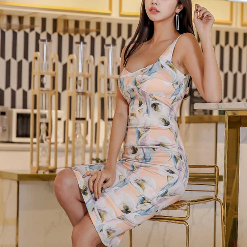 H Han Königin Sexy Schlank V-ausschnitt Frauen Drucken Sommer Kleid Boho Backless Mantel Bleistift Bodycon Kleider Ärmellose Tank 2020 Vestidos
