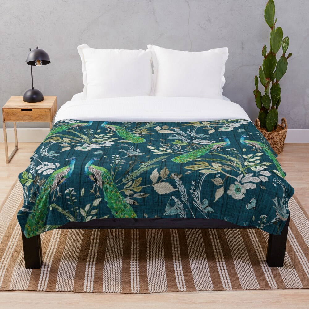 Peacock Chinoiserie Teal Throw Blanket Soft Sherpa Blanket Bed Sheet Single Knee Blanket Office Nap Blanket