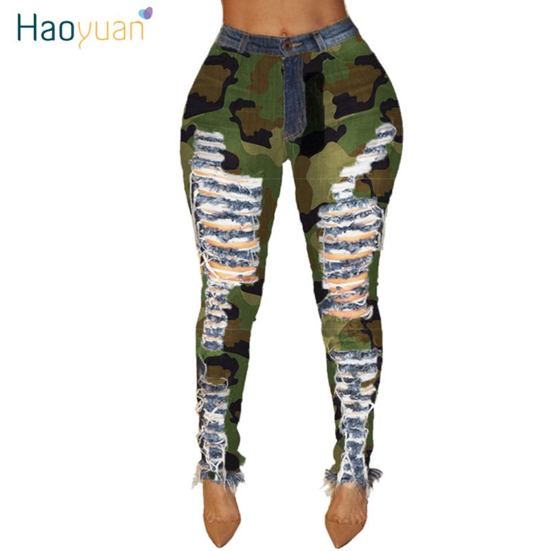 HAOYUAN  Exy Camouflage Plus Size Hole Denim Pants Women Autumn Skinny Trousers High Waist Stretch Bodycon Pants