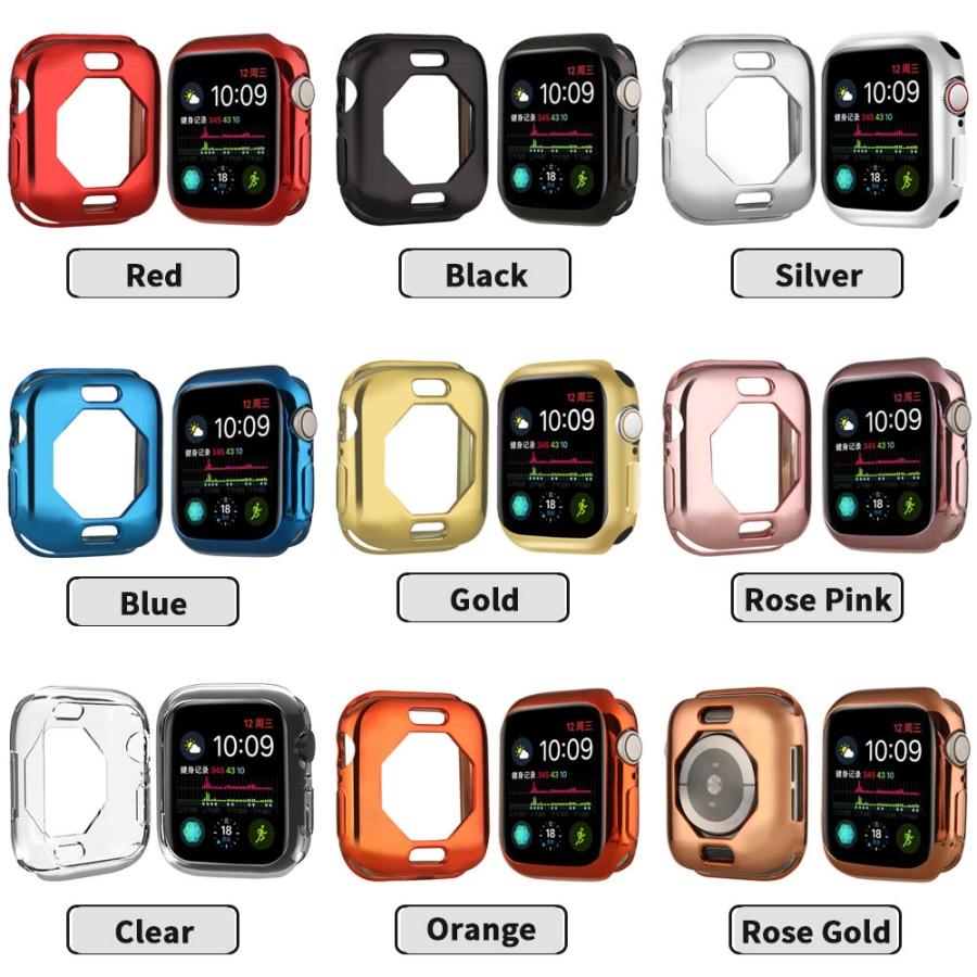 Чехол s для Apple Watch, 44 мм, 40 мм, серия 5, чехол с покрытием, TPU, мягкая защитная оболочка, защитная рамка для iWatch, 4 полосы, бампер