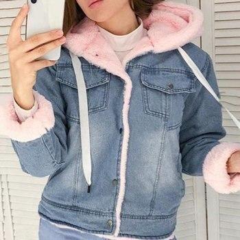 With Fur Trim Hood Cotton Liner Long Denim Jackets Women Winter Warm Denim Coats Jackets Female Plus