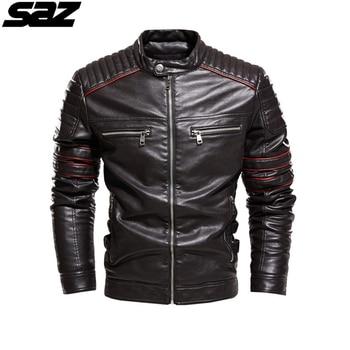 Saz Men New Motorcycle Casusal Vintage Leather Jacket Coat Men Outfit Fashion Biker Pocket Design PU Leather Jacket Men maplesteed vintage motorcycle jacket men leather jacket 100
