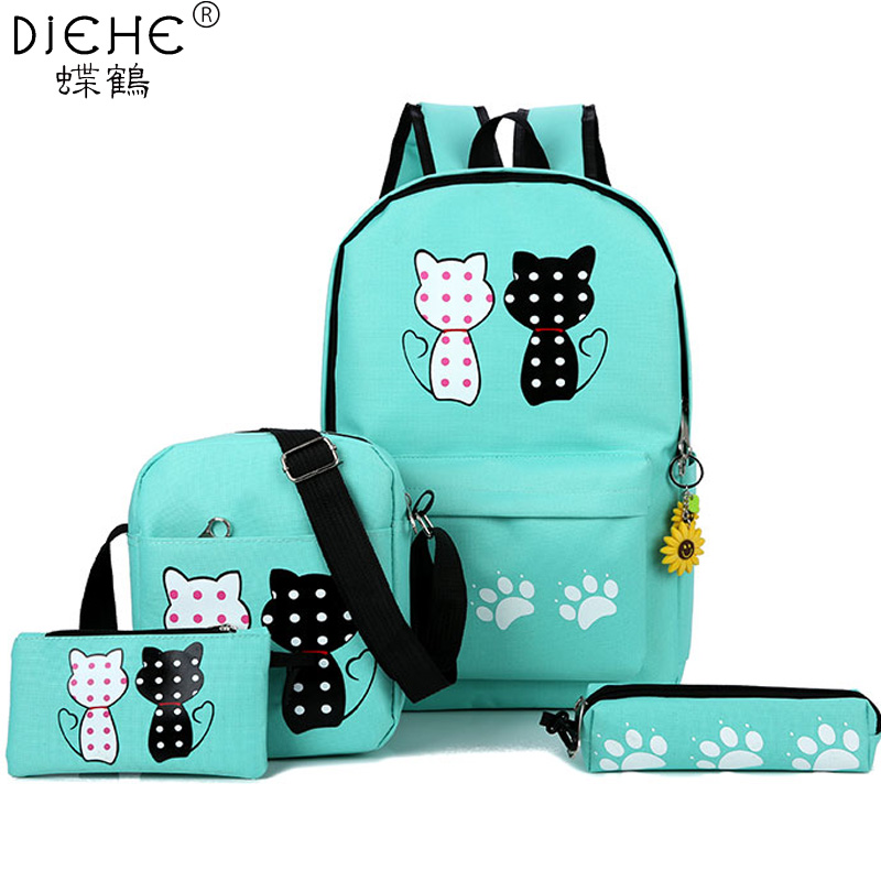 Fashion New 4 Pcs/set Women Nylon Backpacks School Bags For Teenage Girls And Boy Printing Canvas Backpacks Ladies Shoulder Bags