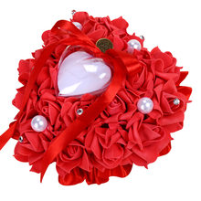 Satin Wedding Ring Pillow Cushion Heart Shape Ring Box Artificial Silk Rose Flowers Jewelry Case Valentine Day Gift Party Decor(China)