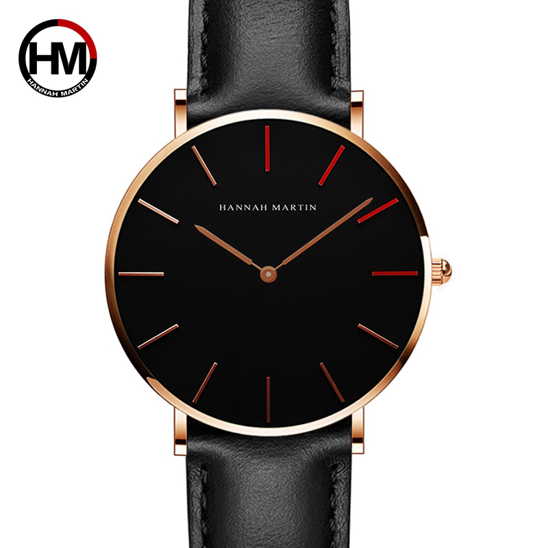 Hannah Martin Watches Women Ultra Slim Quartz Clock Simple Lether Strap Wrist Watch Female Accesories Jewelry Relogio Feminino