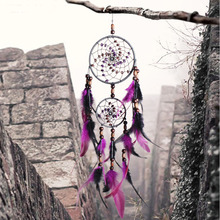 Home Decoration Nordic Style Purple Feather Crafts Dream Catcher Wind Chimes Handmade  Wall Hanging Gifts