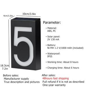 Image 3 - رقم المنزل لوحة الباب الرقمية ضوء الشمس LED علامات عنوان رقم الباب أرقام جدار جبل رقم للمنزل مع البطارية