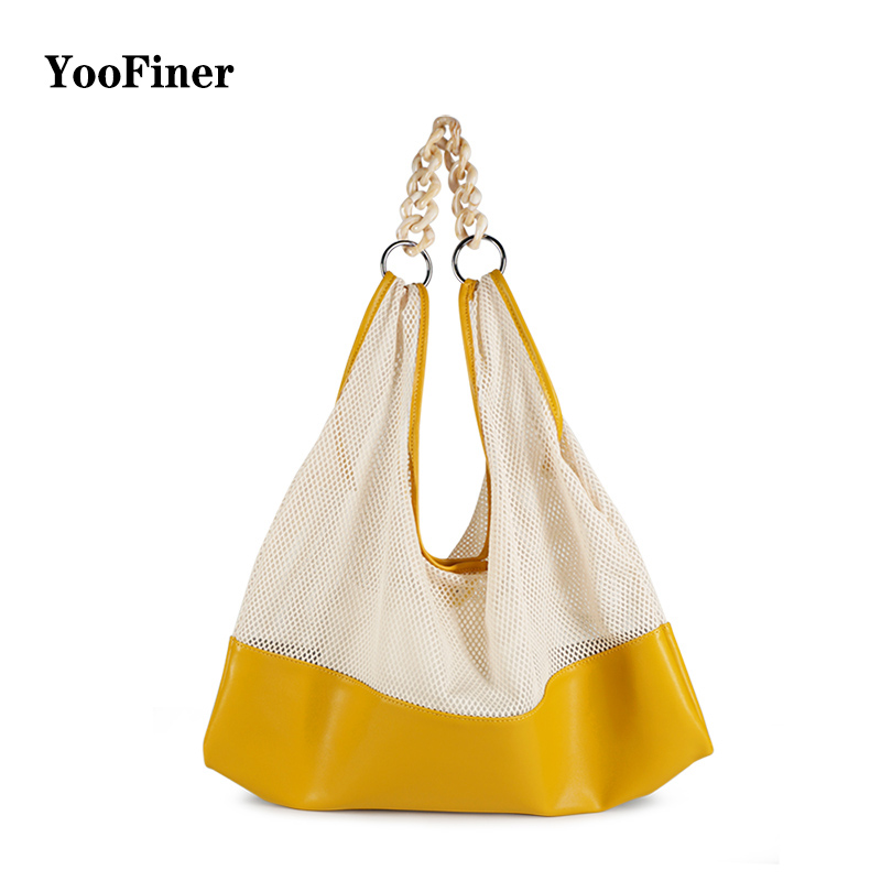 Canvas Mesh Beach Bag 2019 New Trend Fashion Net Female handbag shoulder bag Tote Shopping  Folding