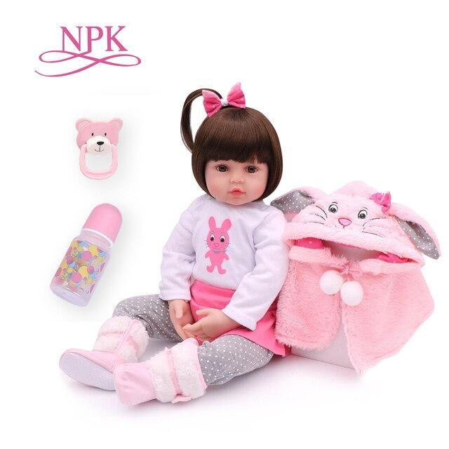 NPK 48 centimetri morbido reale di tocco del silicone boneca bebes reborn silicone bambino rinato bambole del bambino di compleanno per bambini regalo di Natale più richiesti