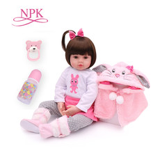 NPK 48cm soft real touch silicone boneca bebes reborn silicone reborn toddler baby dolls kids birthday Christmas gift popular(China)