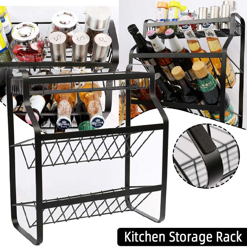 Multi-Function Multilayer Kitchen Storage Rack Soy Sauce Vinegar Bottle Storage Rack Cups Plates Bowl Drying Rack Home Bathroom