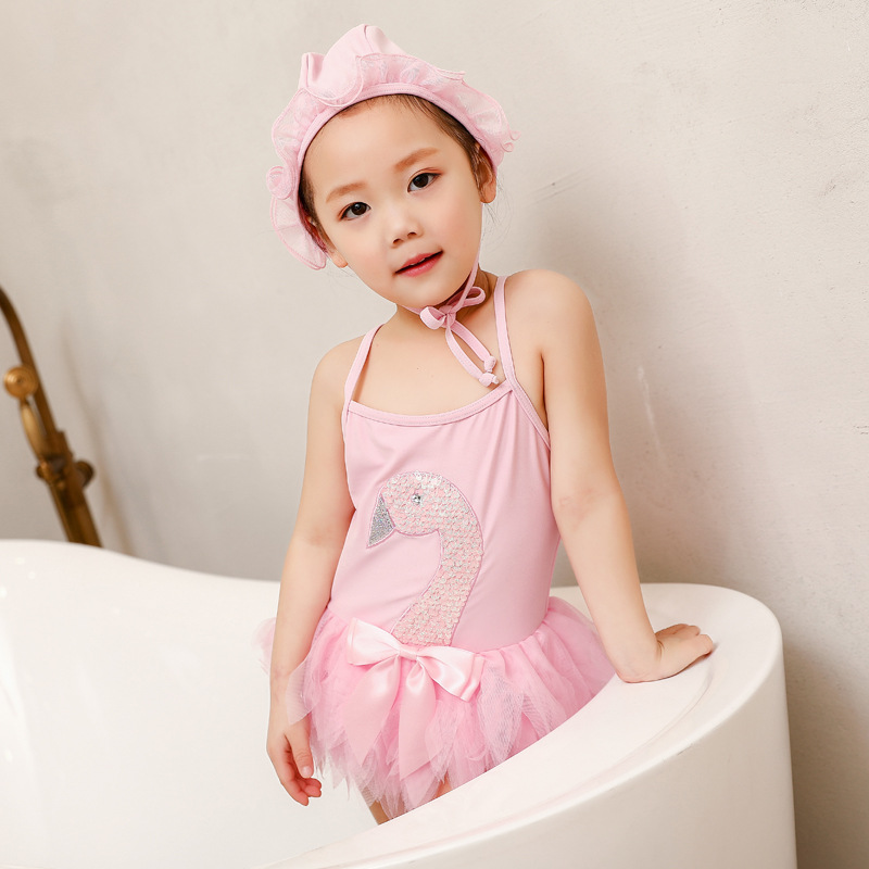 INS New Style 2019 Summer Ballet Bikini Swan Gauze Girls Baby Korean-style One-piece Swimming Suit Swimming Cap