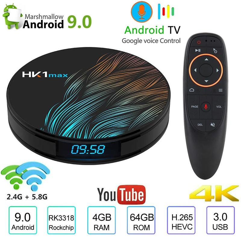 4K Smart TV BOX Android 9.0 4GB 64GB HK1 MAX TV Receiver Wifi Media Player Google Assistant Fast Set Top Box HK1 MAX PK H96 MAX