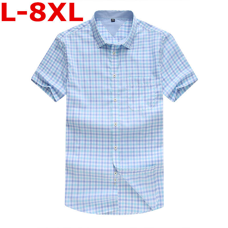 Plus Size 8XL 7XL 6XL New Summer Mens Cotton Dress Shirts Short Sleeve Plaid Pattern Business Formal Shirt Male Camisa Male