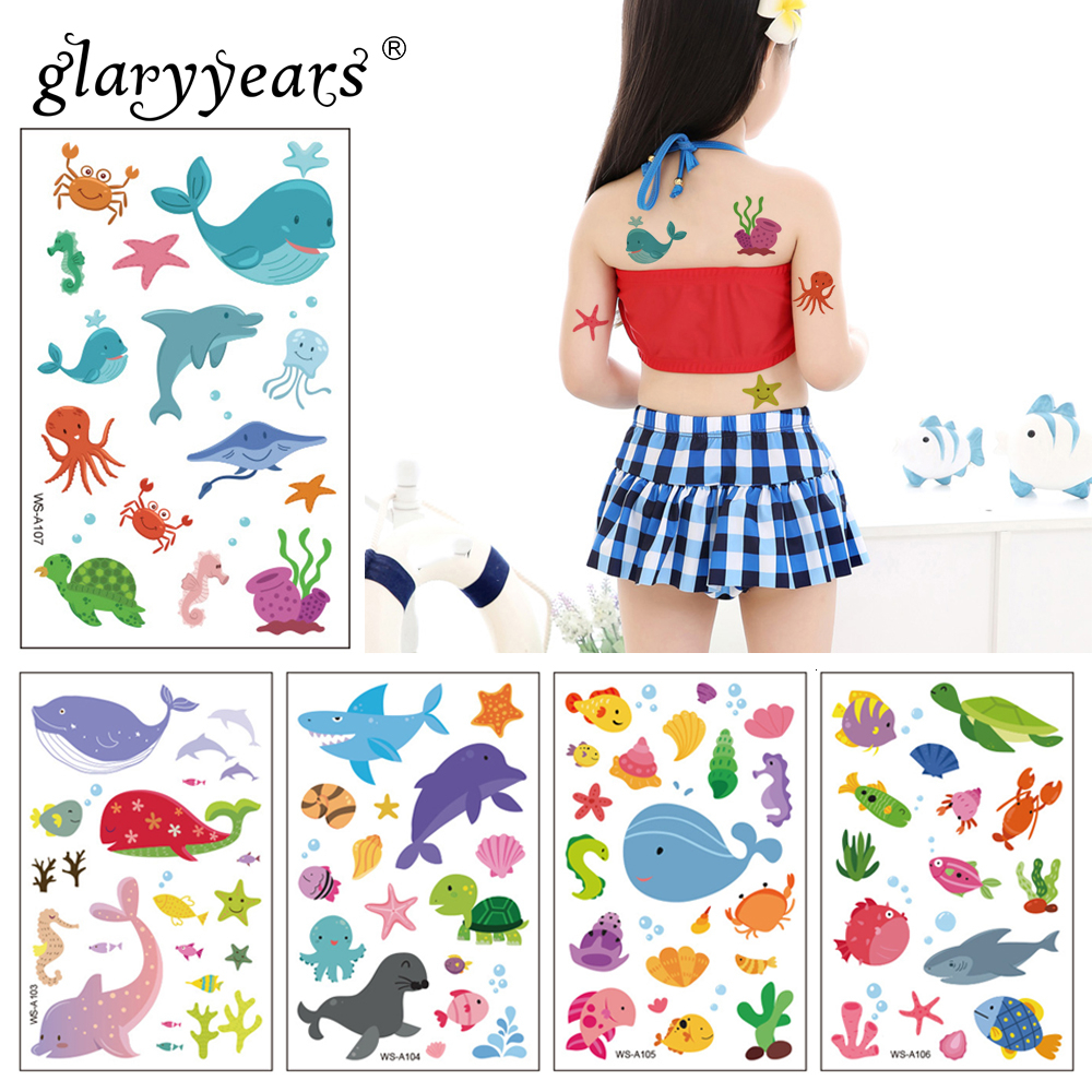 Glaryyears 1 Sheet Whale Pattern Kids Temporary Tattoo Sticker The Ocean Series Fake Flash Waterproof Small Body Art For Child