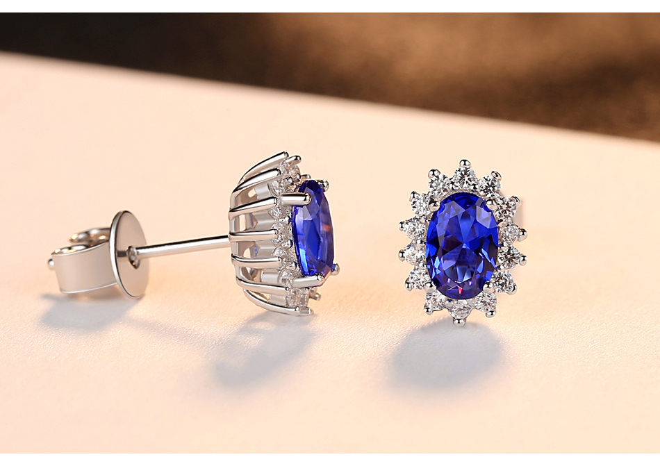 Hd2cf7327c54144b9a8e5280a0d1f2861m CZCITY New Natural Birthstone Royal Blue Oval Topaz Stud Earrings With Solid 925 Sterling Silver Fine Jewelry For Women Brincos
