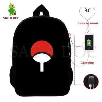 Naruto Multifunction Backpack Uchiha Sasuke Naruto USB Charging School Bags for Teens Women Men Laptop Backpack Travel Bags