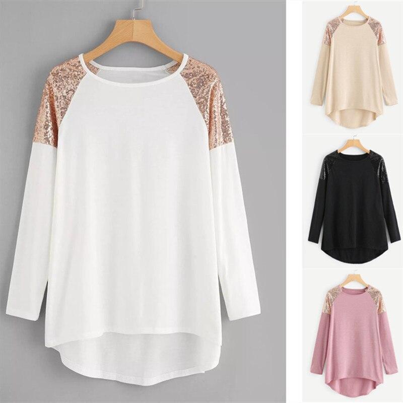 Hot Sale Blouse Shirts Women Contrast Sequin Patchwork Blouse Plus Size 5XL O-Neck Long Sleeve Top chemisiers femme 2019