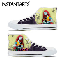 INSTANTARTS Nightmare Before Christmas Print High Top Vulcanize Casual Canvas Women's Shoes Casual lace-up Sneaker Calzado Mujer