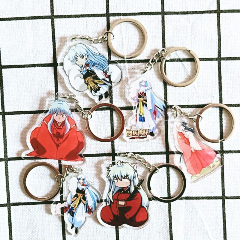1pc New InuYasha Sesshoumaru Anime Acrylic Figure Keyring  Accessory Collection Model Toys Cosplay Keychain Bag Pendant Gift