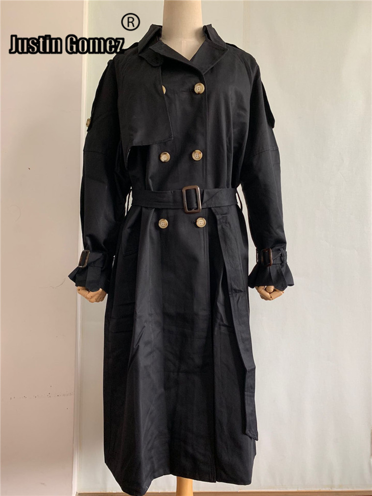 Autumn And Winter 2019 military green Casual   trench   coat oversized Fashion Women Washed belted Outwear
